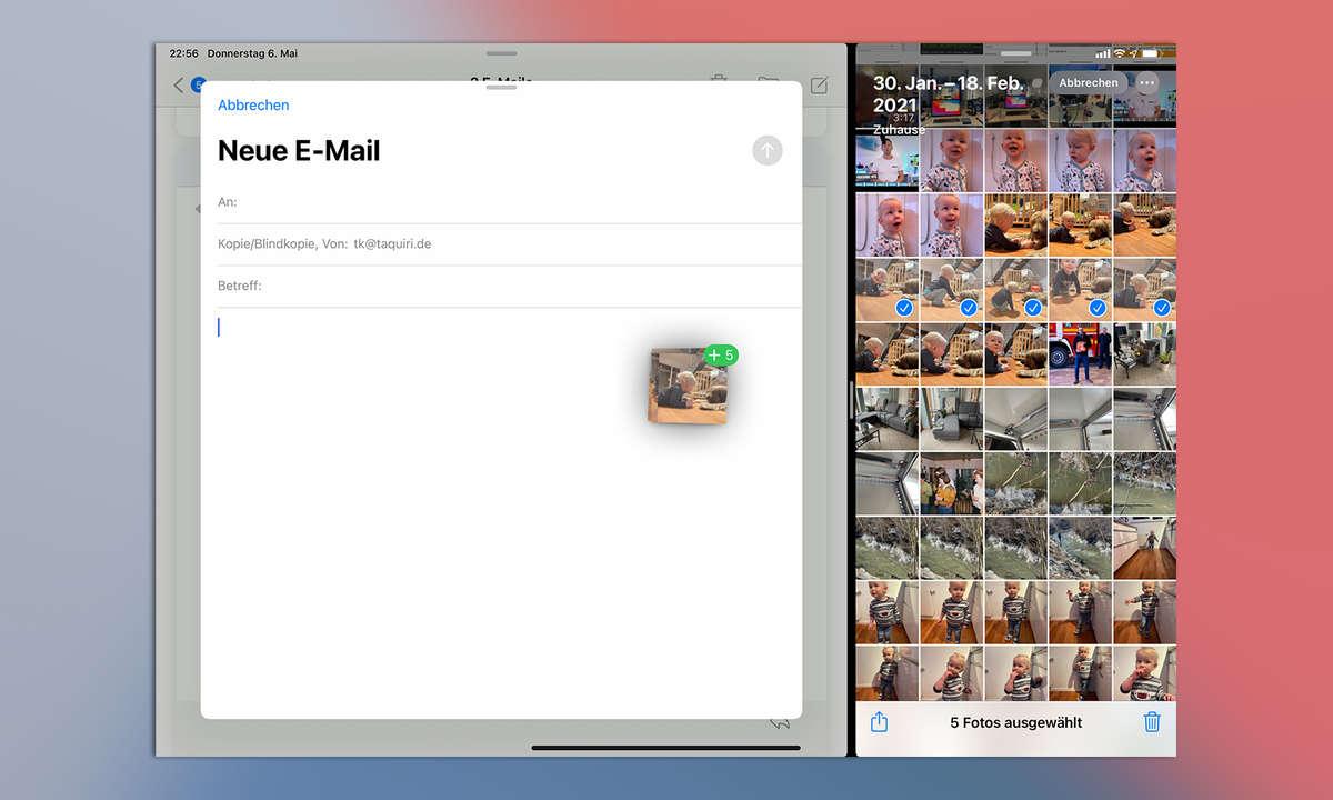 Multitasking iPadOS 14: Drag and Drop von Fotos