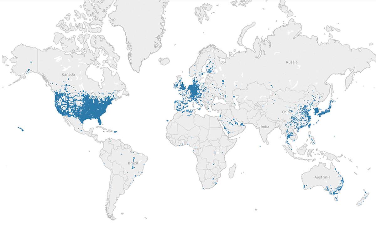 Report: 5G-Abdeckung weltweit: Karte Welt