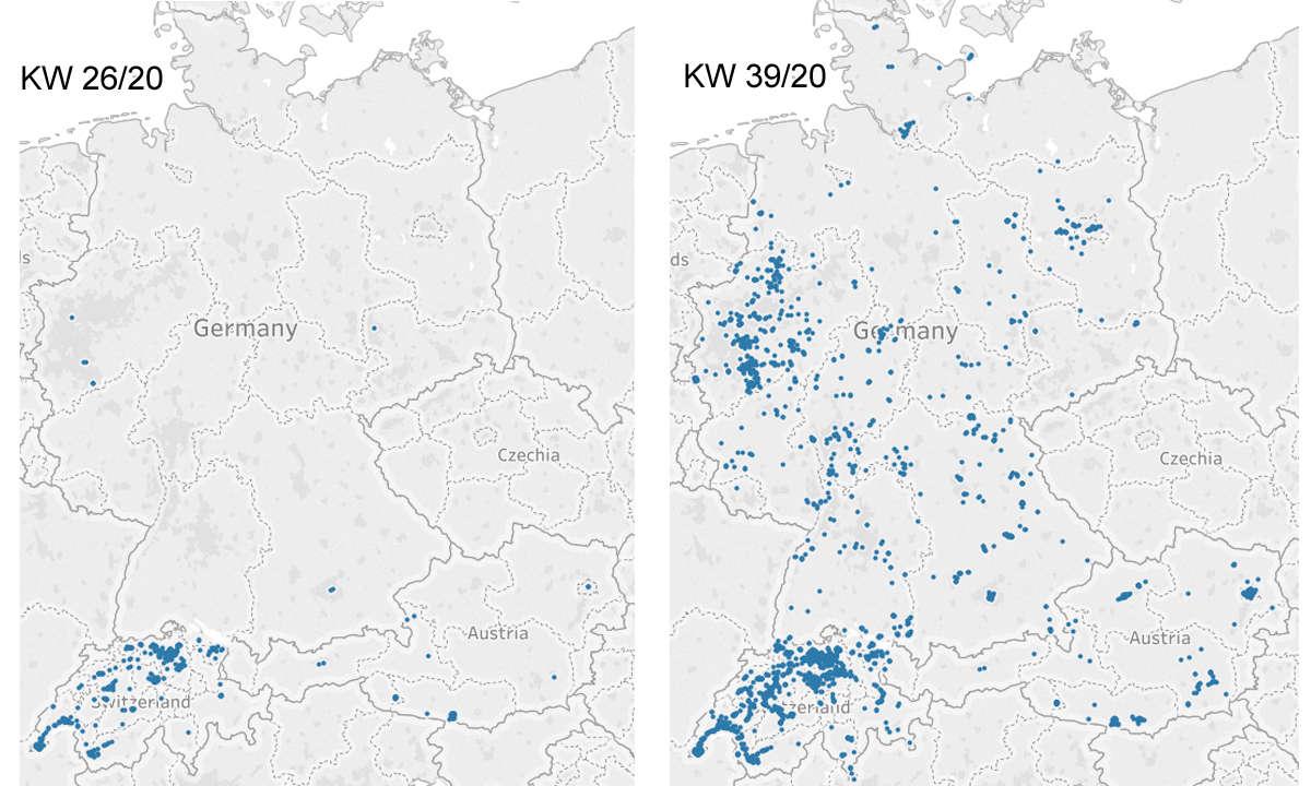 5G-Abdeckung in der DACH-Region Karte 1