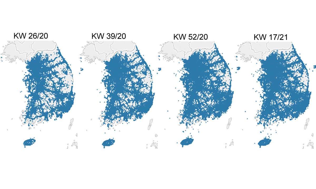 5G-Abdeckung Südkorea Karten