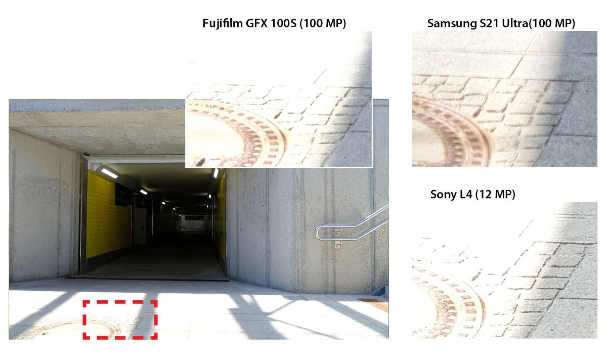 S21 Ultra vs. GFX 100s im 100-MP-Vergleich Tunnel