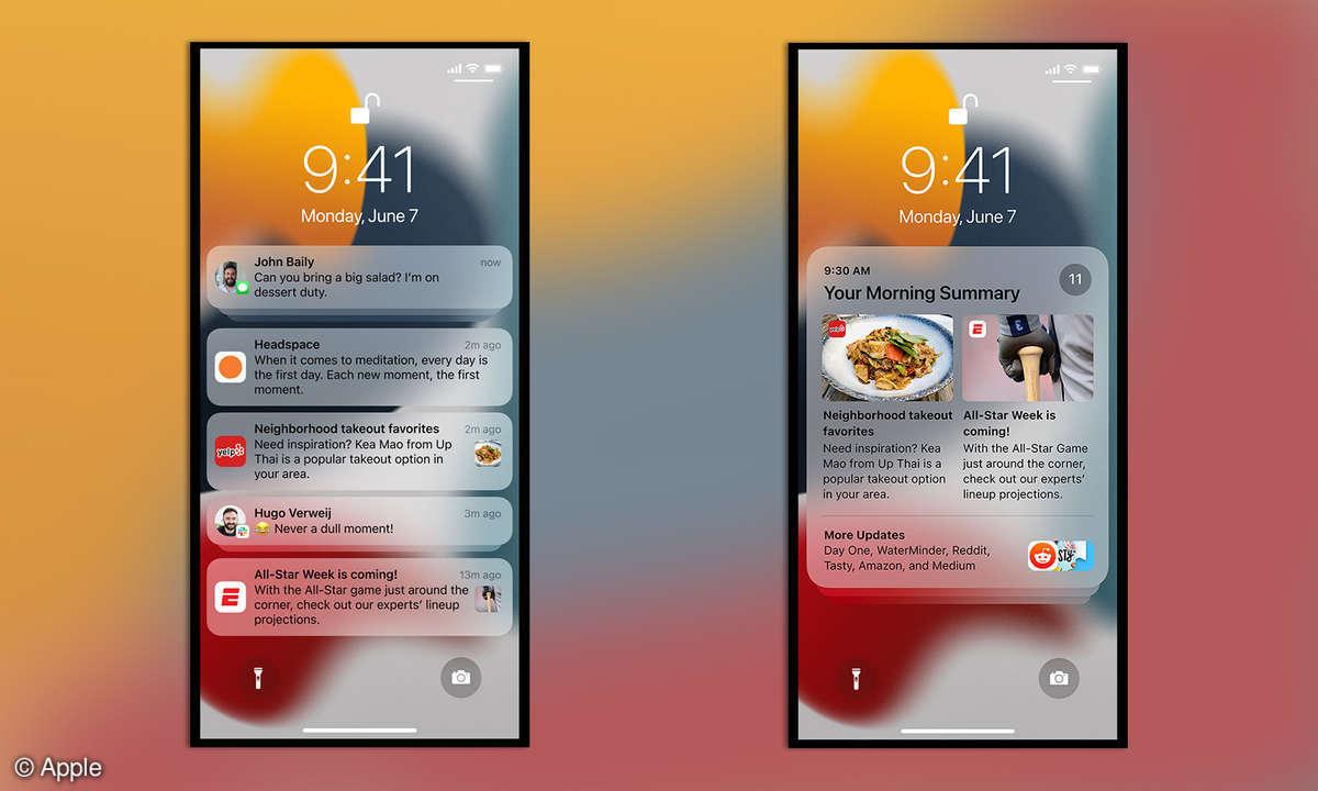 iOS 15 Benachrichtigungen