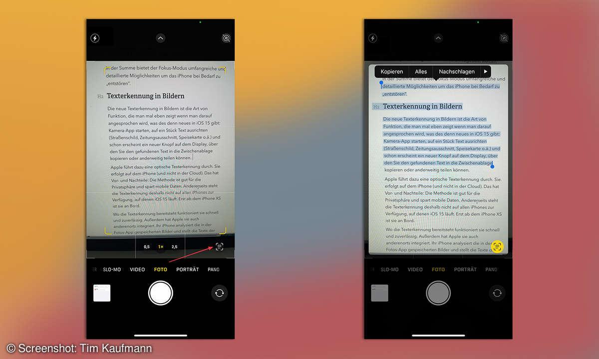 iOS 15 Texterkennung