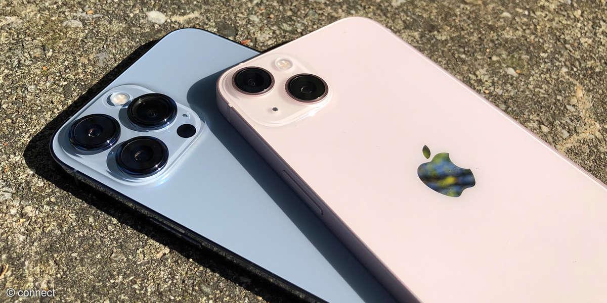iPhone 13 in Rosé und iPhone 13 Pro Max in Sierrablau