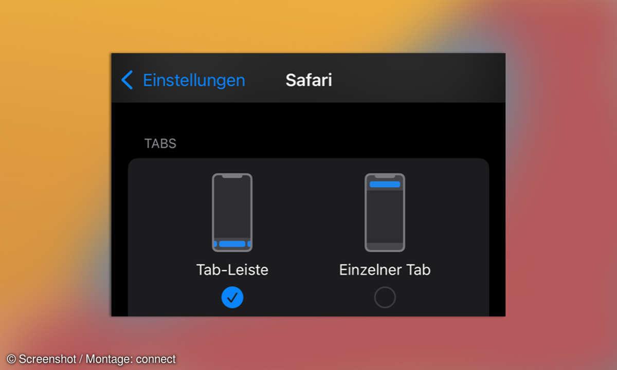iOS 15 Safari Einstellungen Tableiste