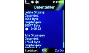 Screen Datenzähle Sony Ericsson