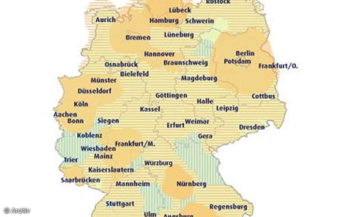 Deutschlandkarte für DVB-T-Empfang