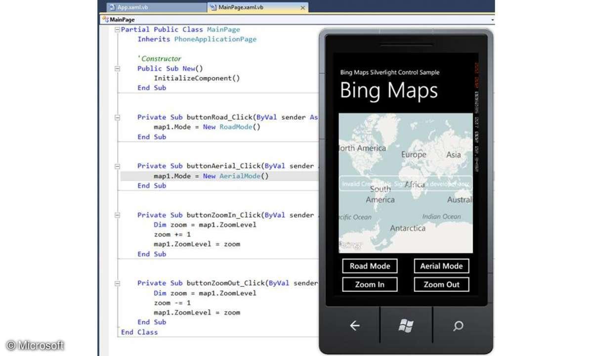 Visual Basic für Windows Phone Developer Tools