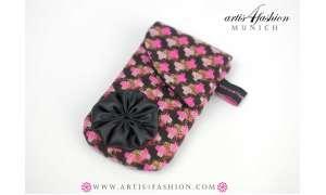 Smartphone-Tasche mit Stoffblume