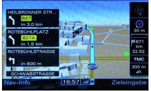 Audi A8 MMI Navi-Darstellung