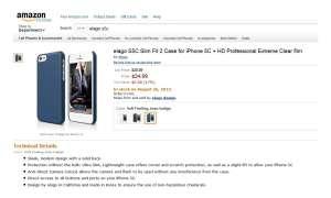 Eine Hülle für das iPhone 5C wurde bei amazon.com entdeckt.