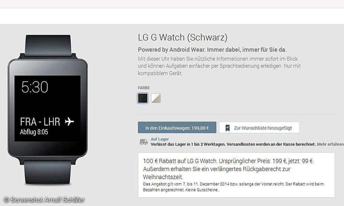 Google Play - LG G Watch Aktion