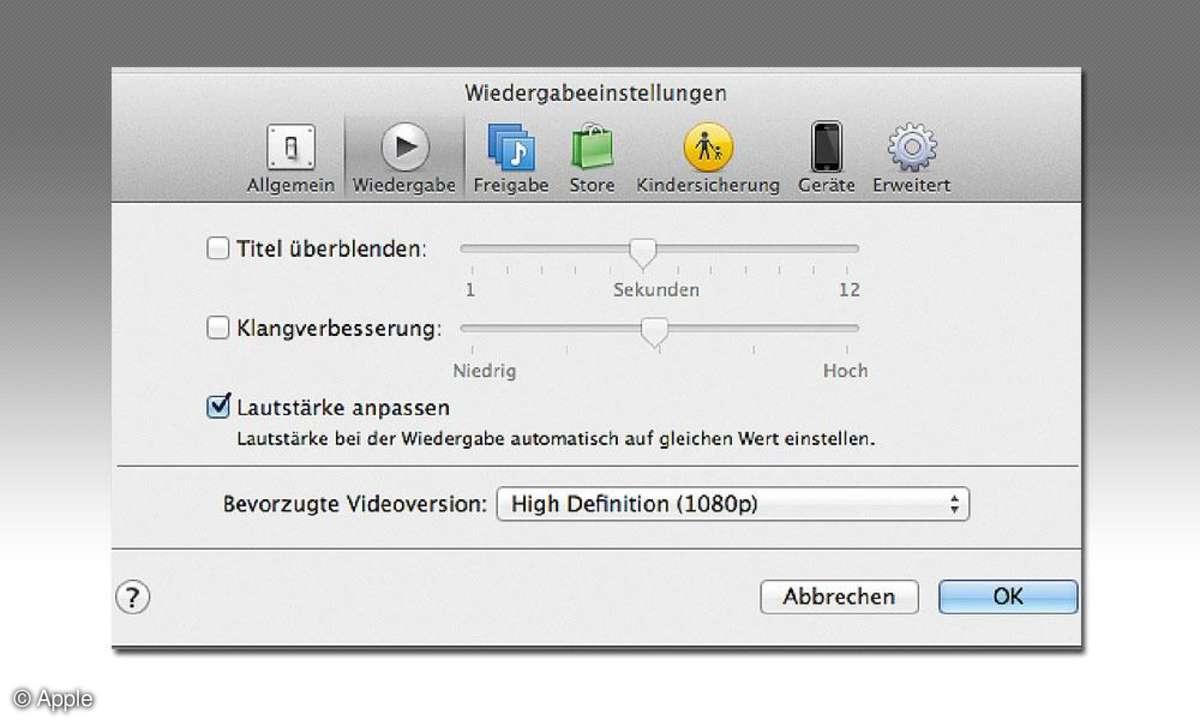 Apple iTunes Einstellungen Screenshot