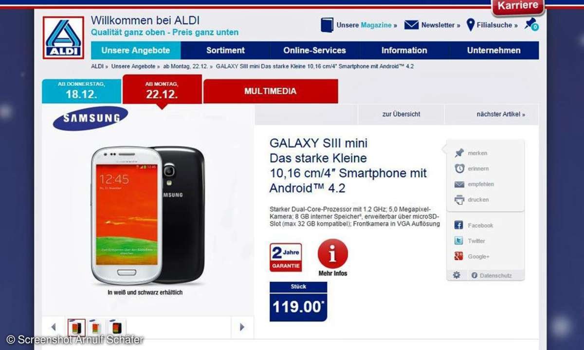 Samsung Galaxy S3 mini bei Aldi