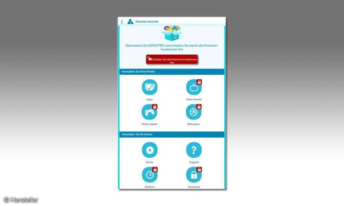 Sicherheitsfunktionen für das Tablet und Smartphone