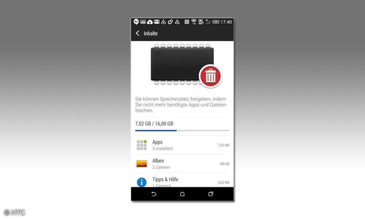 HTC Desire 820 Funktion zum löschen