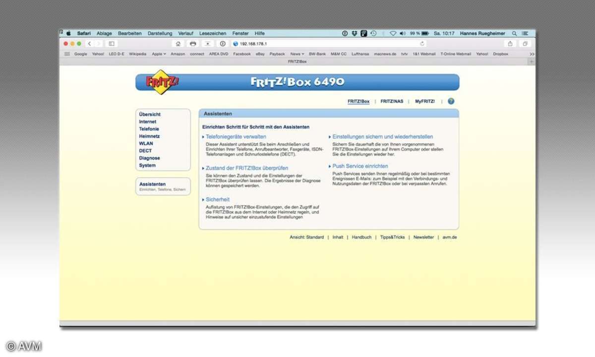 Fritzbox Asisstent für die Einrichtung vieler Funktionen