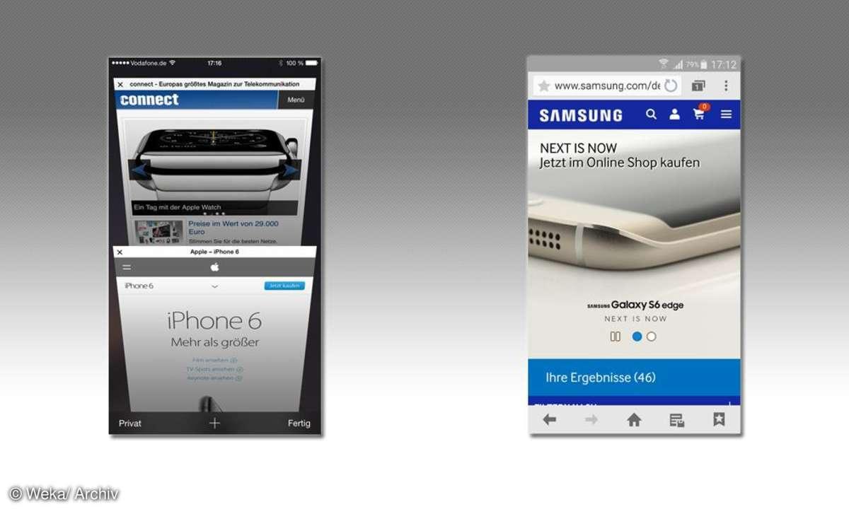 Samsung Browser und Apple Browser
