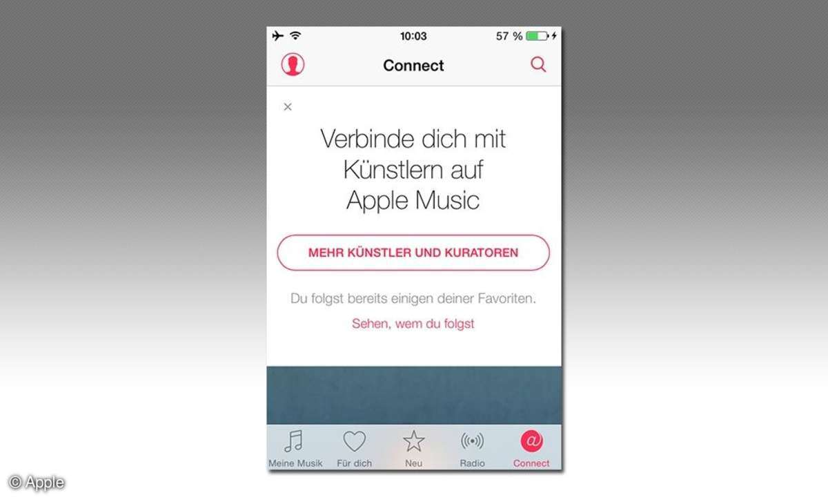 iPhone-Screenshot: Apple Music Connect