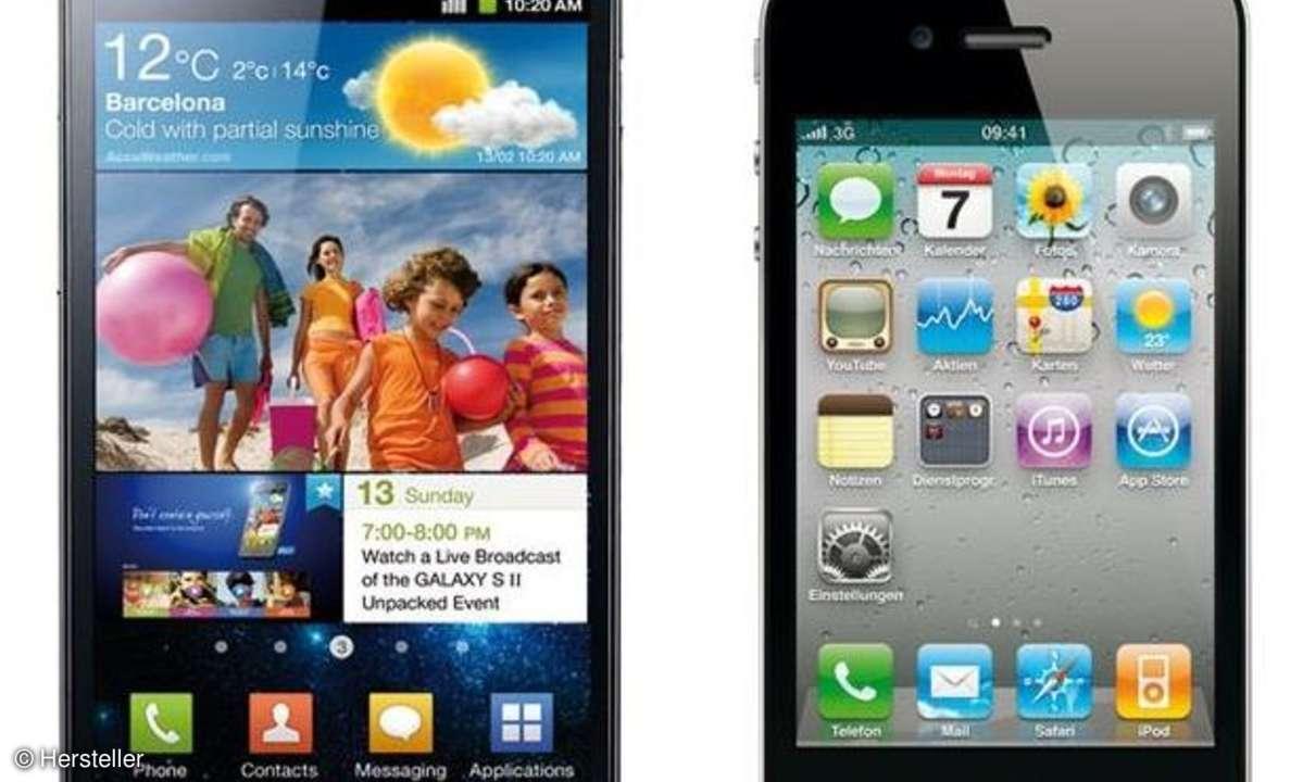 Samsung Galaxy S2 und iPhone 4