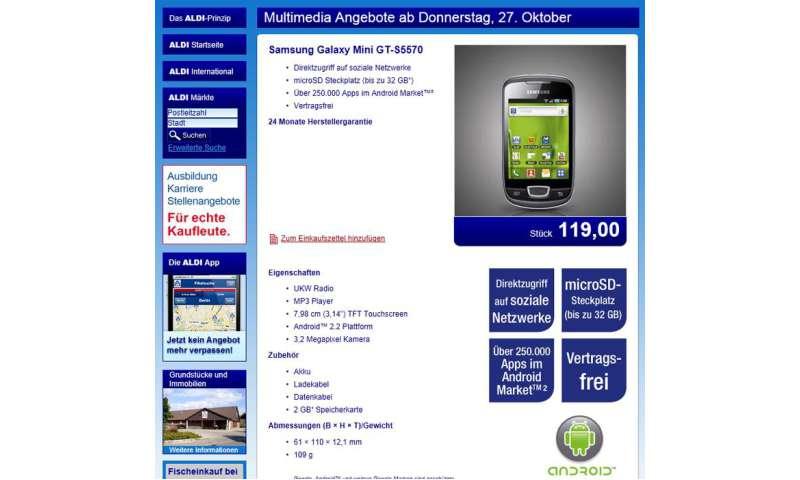 Aldi-Nord: Samsung Galaxy Mini im Angebot