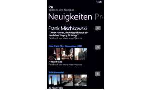 Soziale Kontakte: Statusmeldungen aus sozialen Netzen sind bei Windows Phone integraler Bestandteil der Detailinfos zu einem Kontakt - und zu Ihrem eigenen Profil.