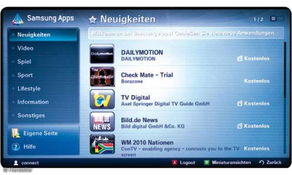 Apps für Samsung-Fernseher