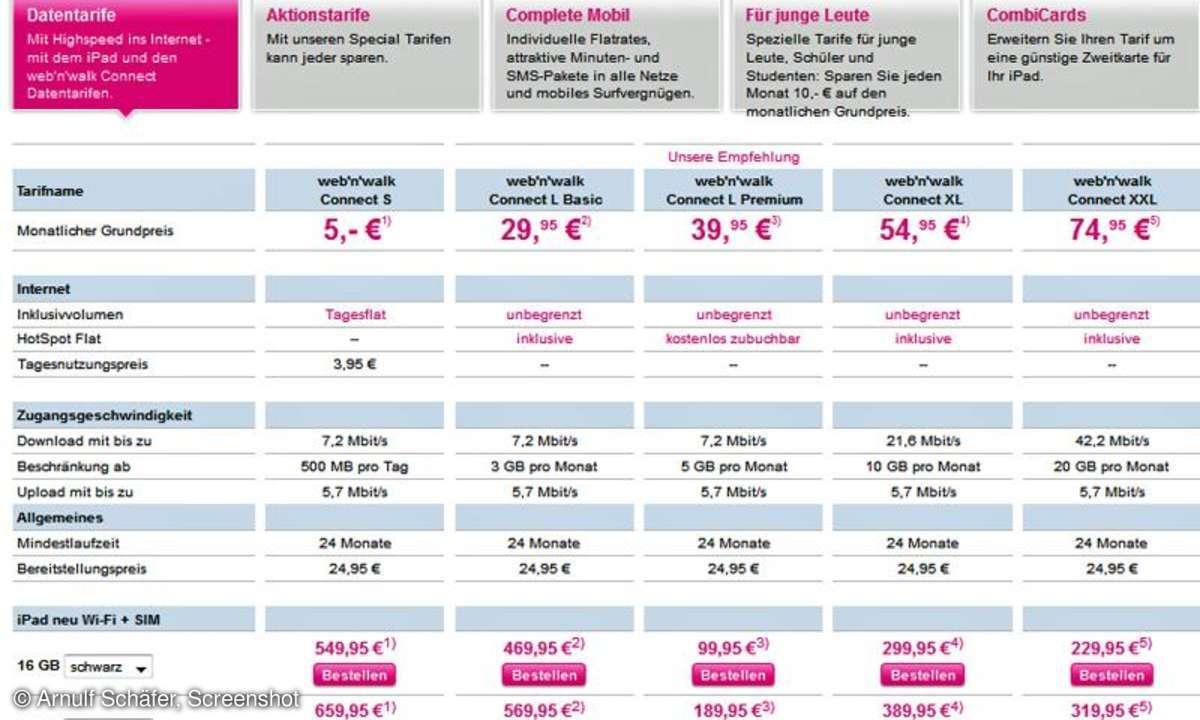 Telekom iPad Tarife