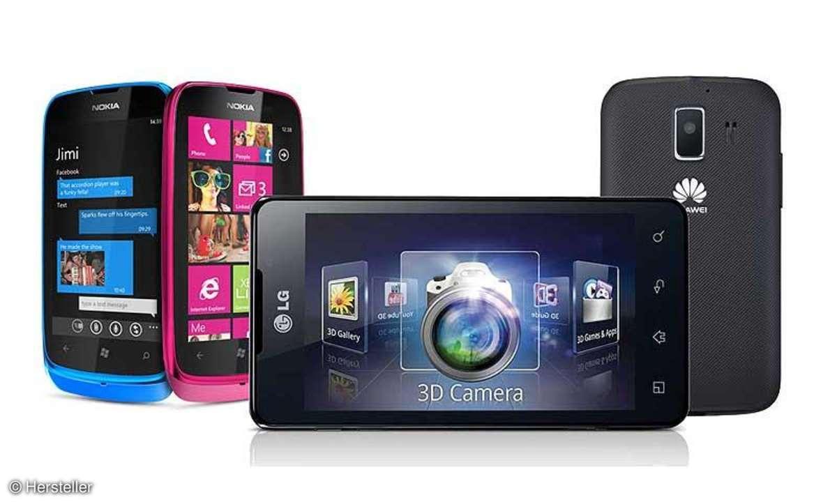 Lumia 610, LG 3D max, Huawei Ascend Y200