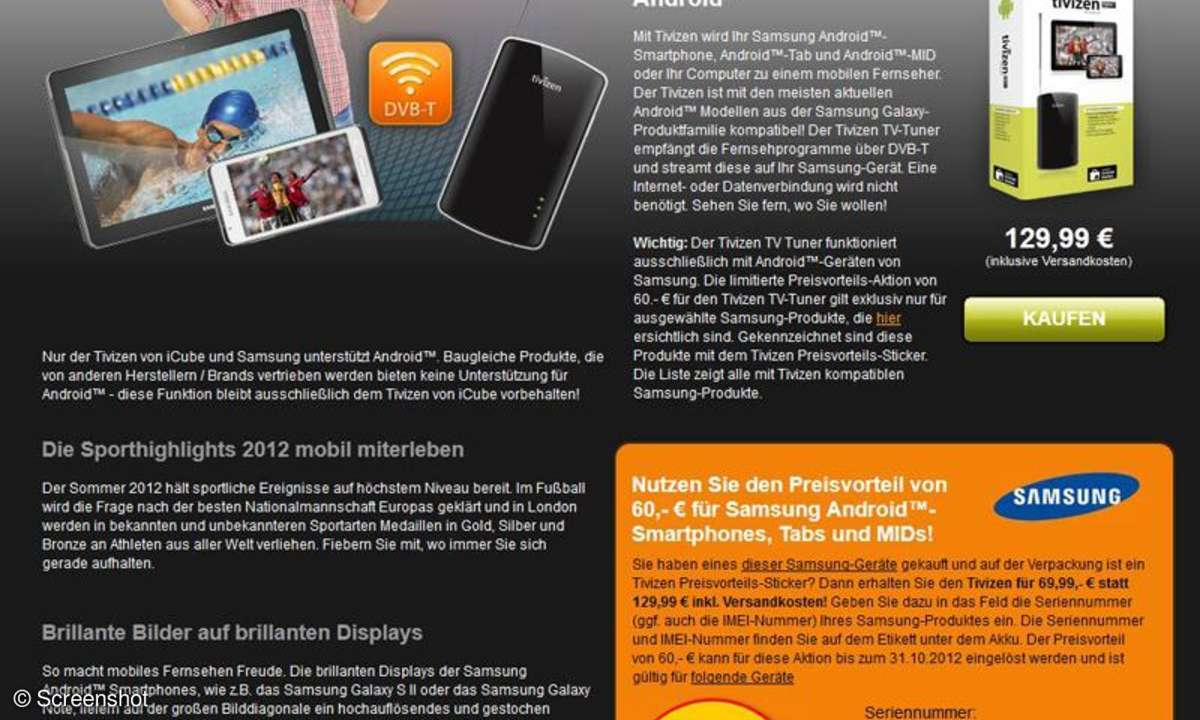 Samsung Aktion Tivizen DVB-T Tuner
