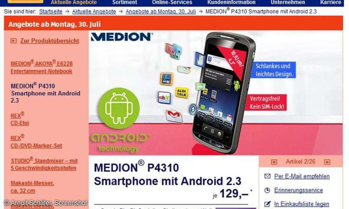 Aldi Aktion Medion P4310, Mediion P4310