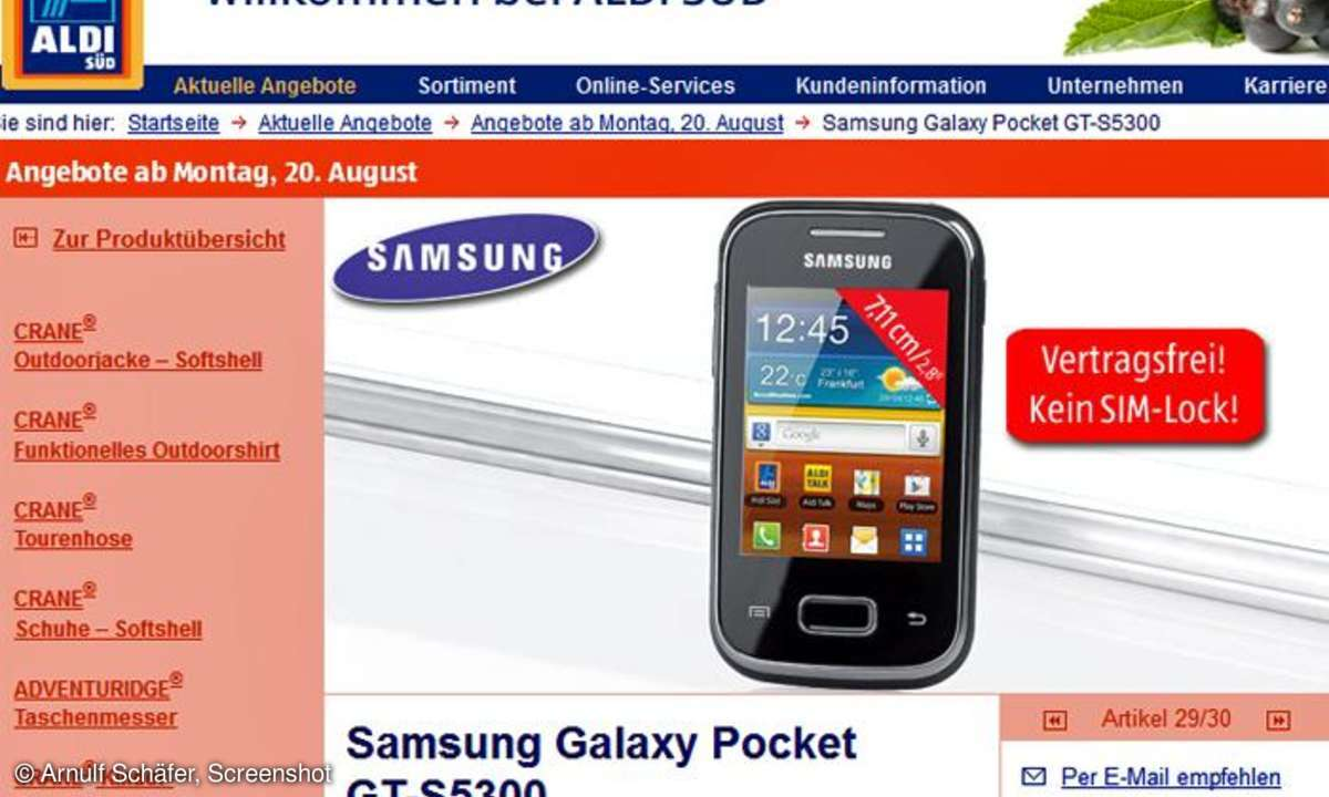 Samsung Galaxy Pocket, Aldi Smartphone-Angebot