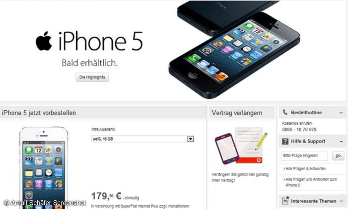 Vodafone startet Vorverkauf des Apple iPhone 5