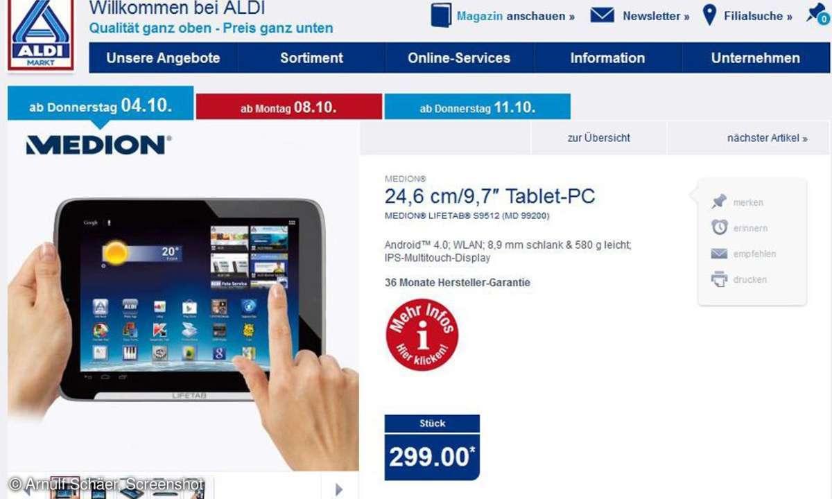 Aldi Nord Aktion, Medion Tablet