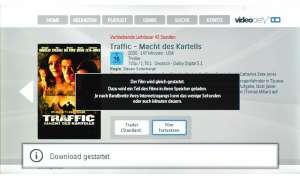 """Der Video-on-Demand-Dienst Videocity speichert seine Filme auf Speicherkarte zwischen, jeden Monat gibt's einen Film gratis, im August war dies """"Traffic""""."""