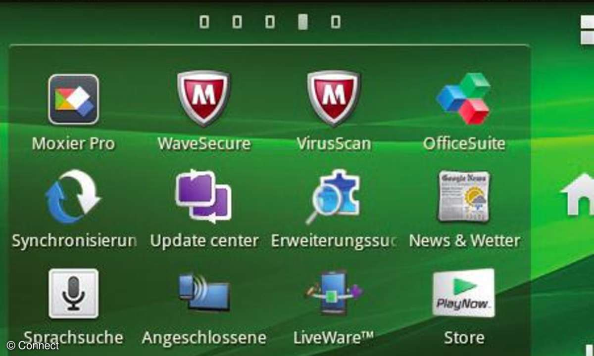 Das Xperia Mini Pro bringt einige Businessprogramme wie Moxier Pro oder Office Suite mit.