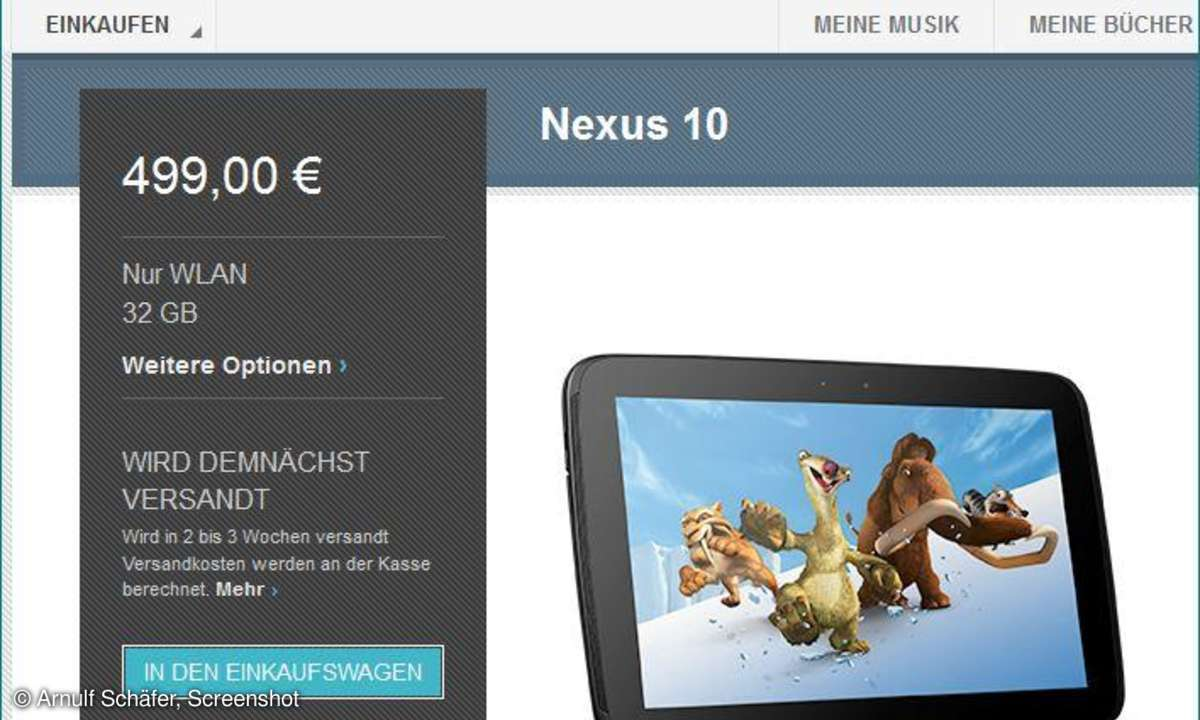 Nexus 10: Jetzt bei Google Play bestellbar