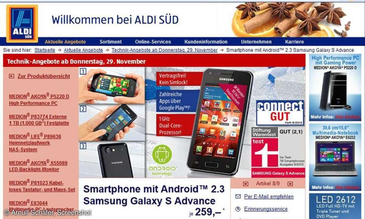 Aldi Süd: Galaxy S Advance im Angeobt