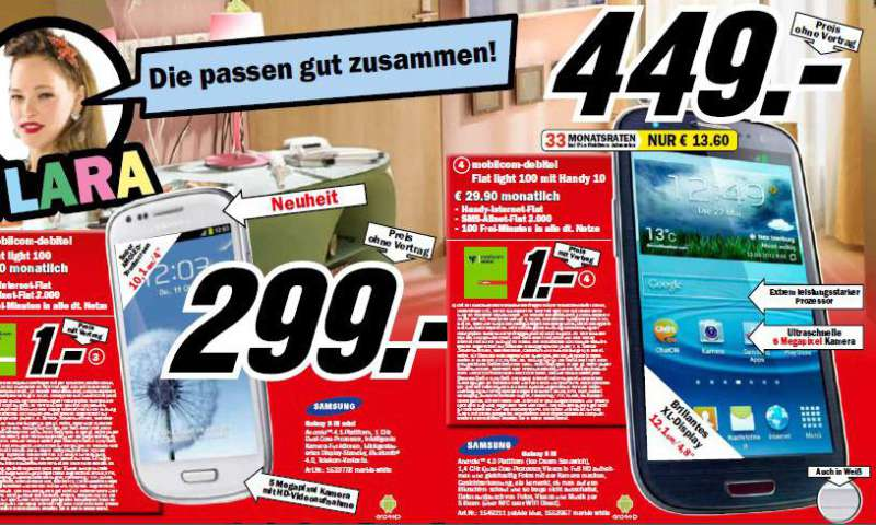 media markt galaxy s3 und s3 mini im angebot connect. Black Bedroom Furniture Sets. Home Design Ideas