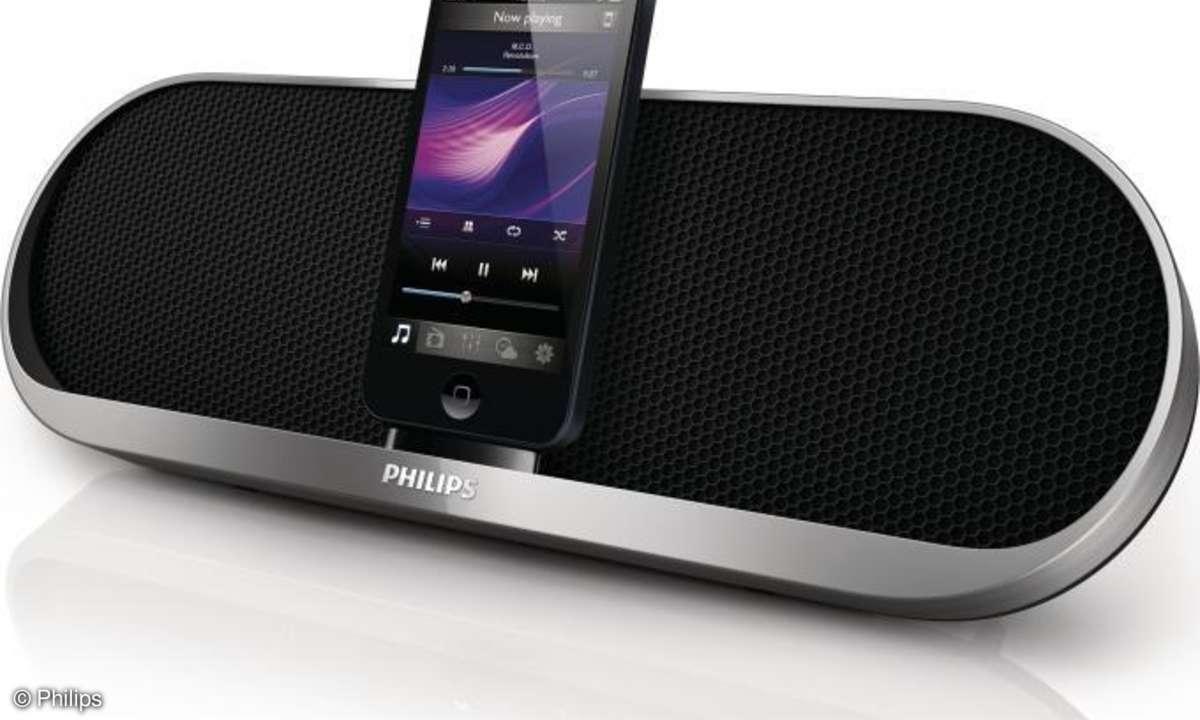 Philips portable Dockingstation DS7580 hat einen Lightning-Anschluss, kommt im Januar in den Handel und kostet 129 Euro (UVP). Eine Akkuladung soll für etwa acht Stunden Musikwiedergabe reichen.