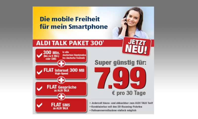aldi talk paket 300 inklusiv paket mit flat f r 7 99 euro connect. Black Bedroom Furniture Sets. Home Design Ideas