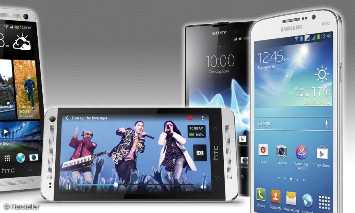 HTC One, Xperia E, Galaxy Mega