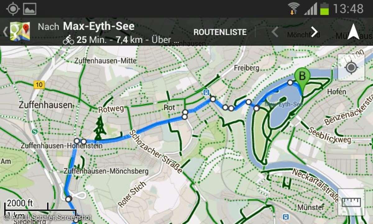 Google Maps, Radtouren-Planung