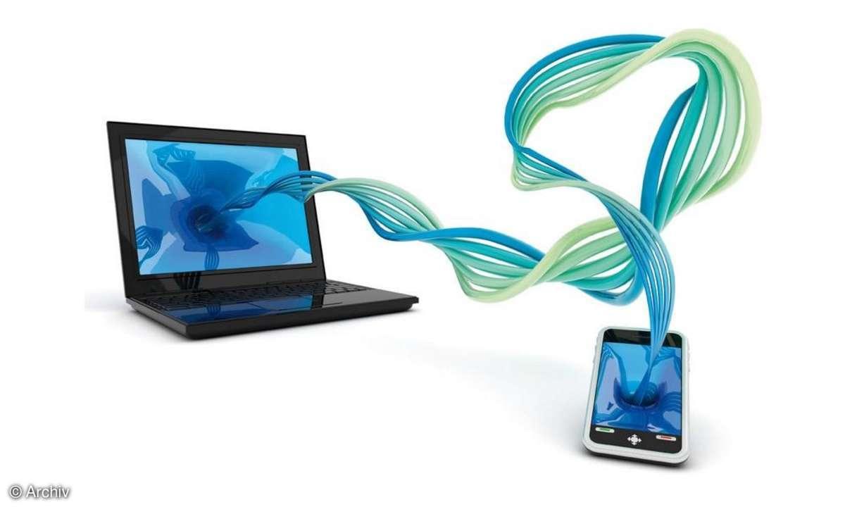 Handy, Daten, Laptop, Synchro