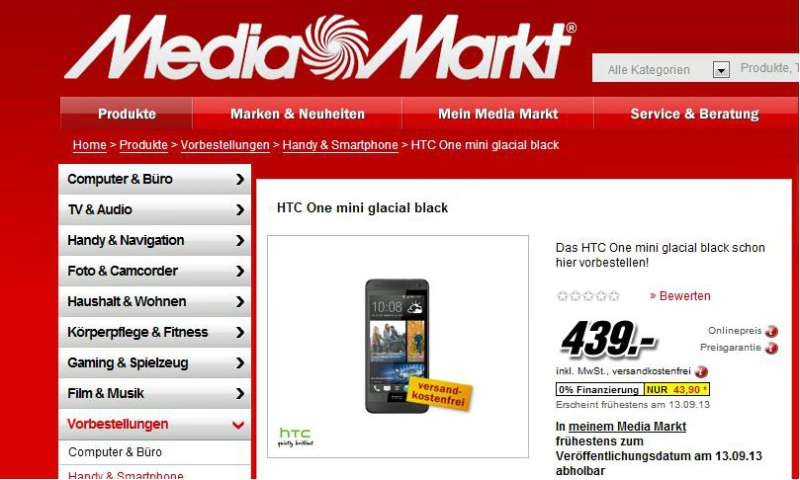 media markt bringt htc one mini zum angebotspreis von 439 euro connect. Black Bedroom Furniture Sets. Home Design Ideas
