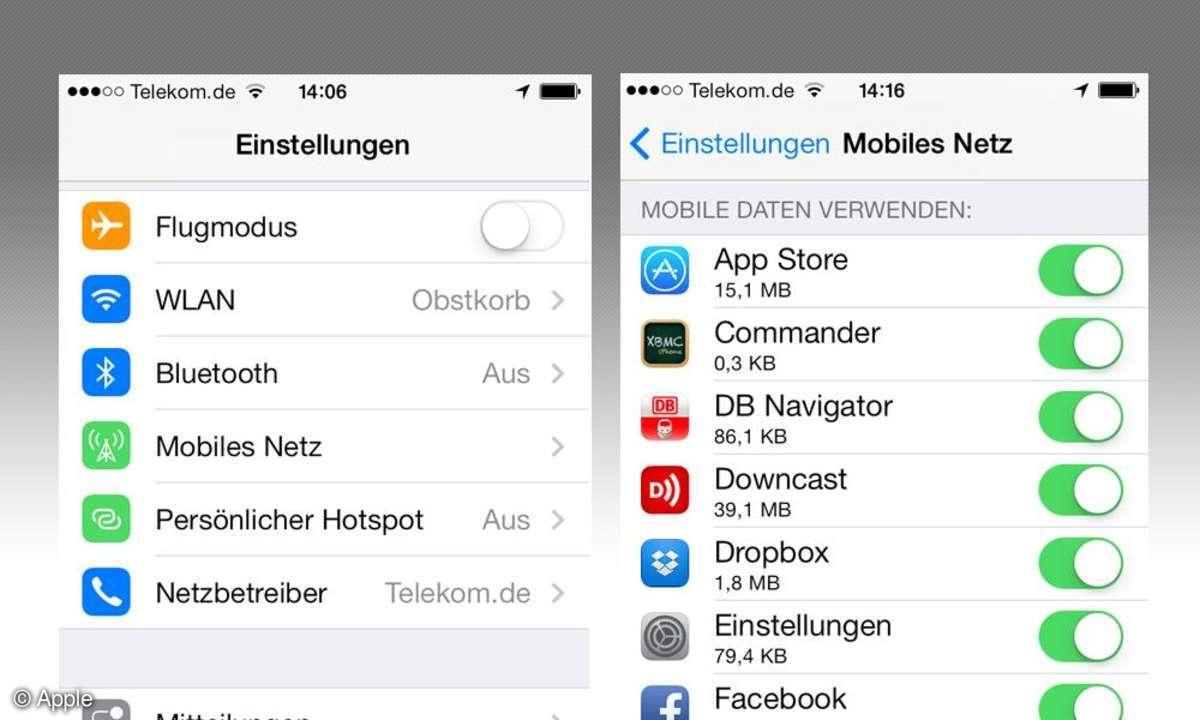 Einstellungen iOS7