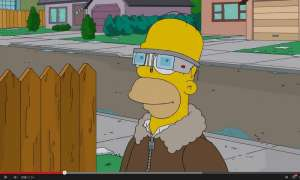 Homer Simpson trägt Google Glass.