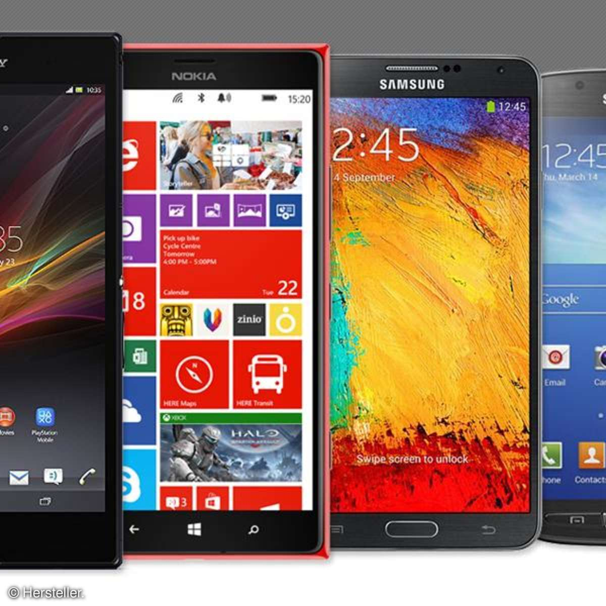 Sony Xperia Ultra Z, Nokia Lumia 1520, Samsung Galaxy Note 3, Samsung Galaxy S4 Active