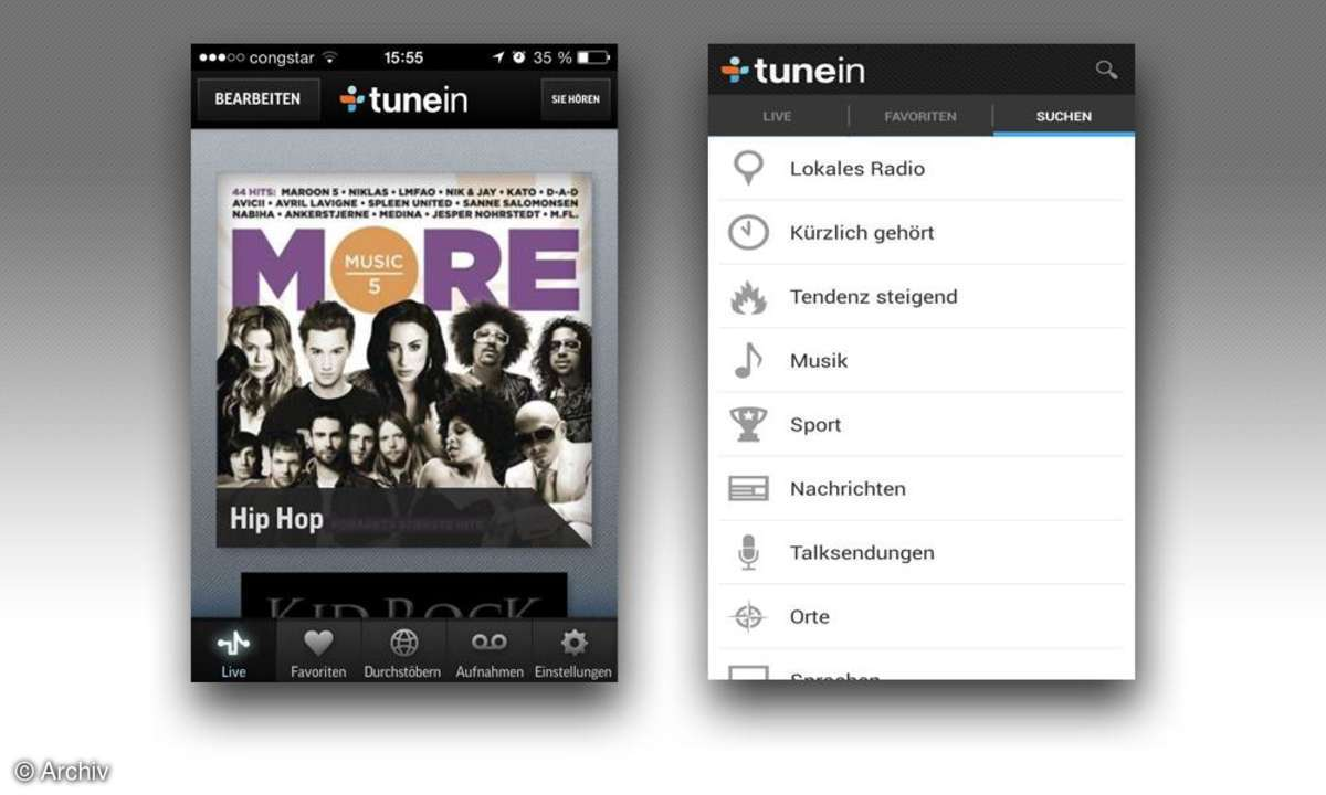Die Webradio-App TuneIn Radio im Test.