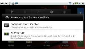 Wird das mitgelieferte HDMI-Kabel an das Atrix angeschlossen, erscheint die Auswahl für das Entertainment-Center.